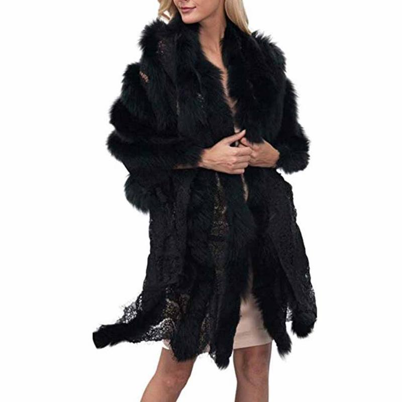 2018 Lace splice fur scarf sexy ladies imitation mink fur Fox Fur Collar Poncho Cape Bridal wedding dress shawl