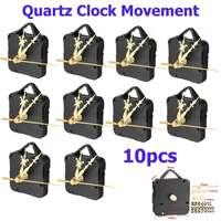 10 PCS Silent Quartz Clock Movement Kit with Gold Digital Card Hour Minute Second Hand Quartz for Tide Clock Movement