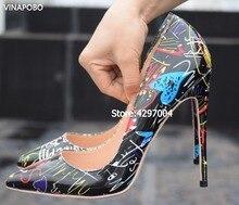 cf7936b9e1 VINAPOBO 2018 Specia Graffiti Colorido Mulheres Bombas Mulheres Sapatos de  Festa de Casamento Sexy Stiletto Sapatos de salto alt.
