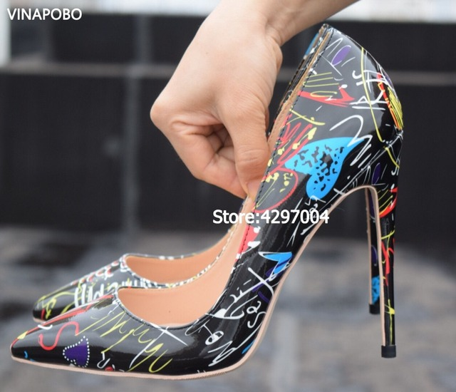 VINAPOBO 2018 Specia Graffiti Colorful Women Pumps Sexy Stiletto high heels  Spring Wedding Party Women Shoes sapato feminino ea74cf2494fb