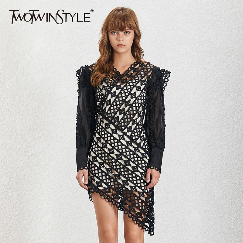 TWOTWINSTYLE Summer Vintage Women s Dress V Neck Lantern Sleeve Hem Asymmetrical Hollow Out Mini Dresses