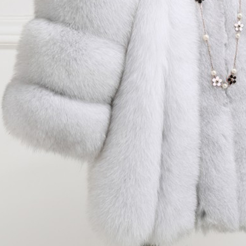 Nouveau hiver femme moelleux fausse fourrure manteau qualifié épais imité fourrure de renard pardessus femme vêtements d'extérieur chauds - 5