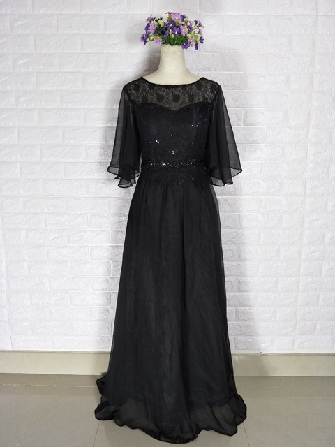 Free shipping 2018 hot One Shoulder With Jacket A-Line Chiffon Cap Sleeve  Black Lace bc579a9b982b