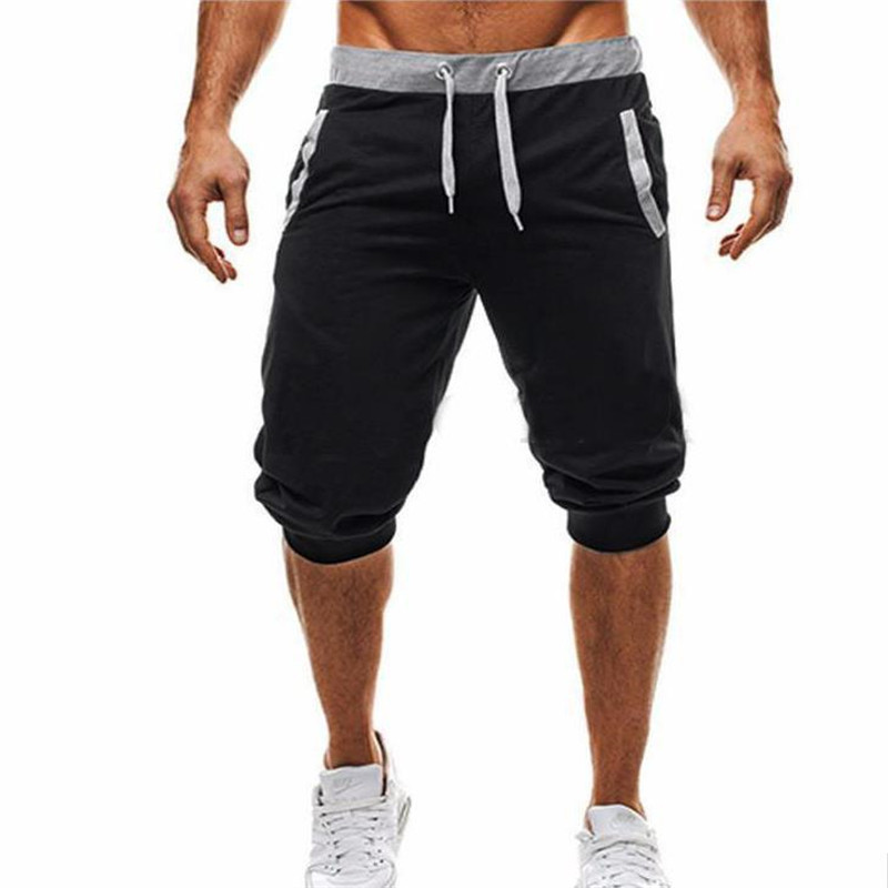 2019 Summer Men's Casual Men's Knee Long Shorts Color Patchwork Jogging Shorts Sports Men's Bermuda Shorts