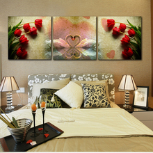 3 Panel Wall Painting Modular Modern Canvas Oil Mural Living Room Beautiful Swan And Rose HD Printing