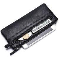 Vintage PU Men's Wallet Vertical Long Money Pocket With Coin Card Holder Purse Zipper Soft Organizer Wallets Split Into Two Bag