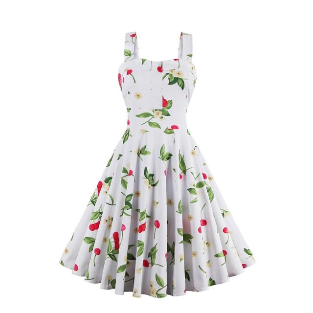 e80e24ebe55cb Kenancy Plus Size Cherry Print Pin Up Summer Dress Women Vintage 50s  Rockbility Vestidos Robe Sleeveless A-line Party Dresses