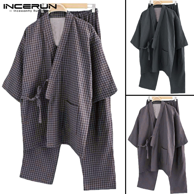 Man Pajamas Kimono Cotton Lounge Lightwear-Suits Stripe Male Summer Robe Autumn Gown