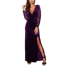 Elegant V Neck Velvet Party Dress Women Ruched Lace Sexy See Through Sheer Mesh Split Maxi
