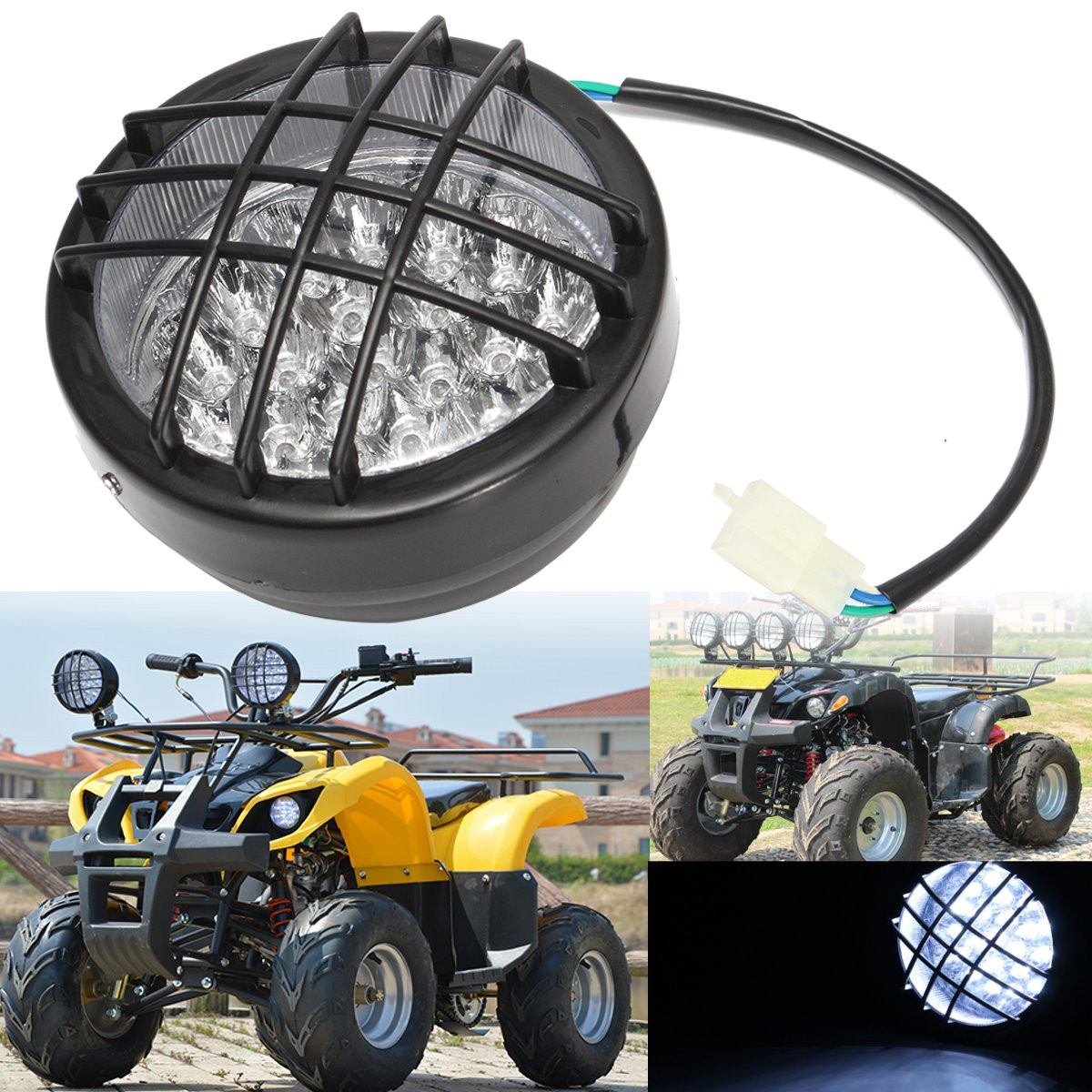 12V Motorcycle Front LED Headlight Lamp For ATV Quad 4 Wheeler Go Kart Roketa SunL Taotao