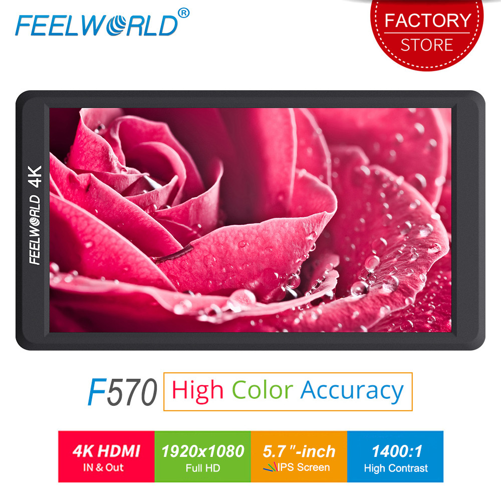 Feelworld F570 5.7 inch DSLR On Camera Field Monitor Small HD Focus Video Assist LCD IPS Full HD 1920x1080 4K HDMI Input Output feelworld f7s 7 inch sdi 4k hdmi on camera dslr field monitor full hd 1920x1200 aluminum housing small lcd ips external display