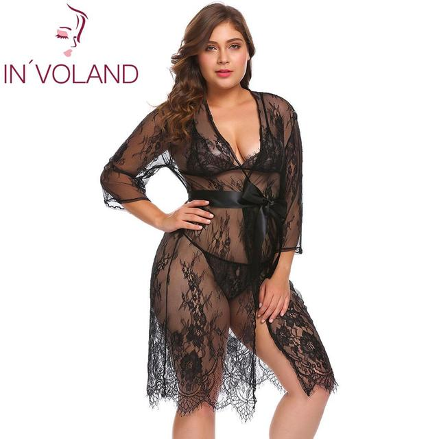 d73832462b IN VOLAND Plus Size Women Lingerie Sexy Lace Transparent Mesh Night Lingerie  Sets with Robe Spring Summer Nightdress Sleepwear