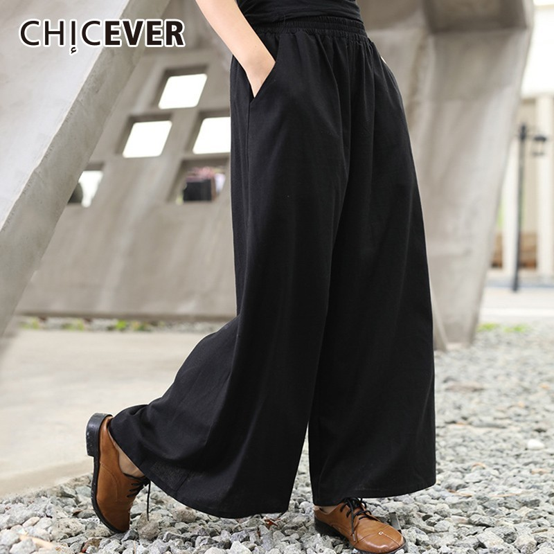 CHICEVER Trouser For Women's   Wide     Leg     Pants   Female Elastic High Waist Loose Black   Pants   Fashion Casual Vintage Clothes