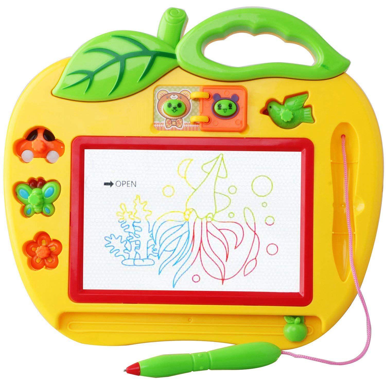 Aaaj-magie Slate Farbe Kleine Format Mit Briefmarken Spielzeug Für Mädchen Und Jungen 18 Monate Mini Spiele Für Babys Und Kinder 2 Und 3 Ye