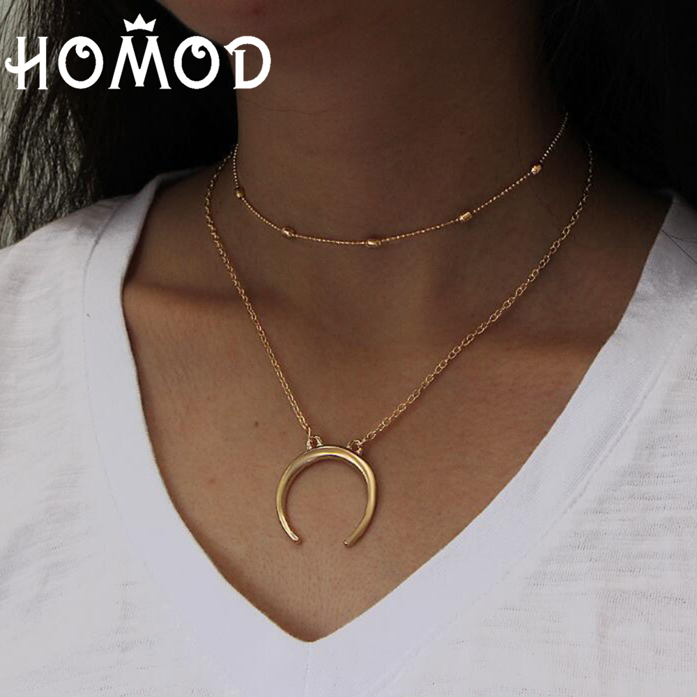 HOMOD Simple Fashion Choker Necklace Golden Double Layer Long Chain Pendant Moon Necklace The Women Charm Jewelry