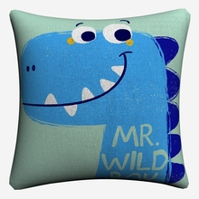 Nursery Cartoon Dinosaur Kids Art Decorative Cotton Linen Cushion Cover 45x45cm For Sofa Chair Pillow Case Home Decor Almofada