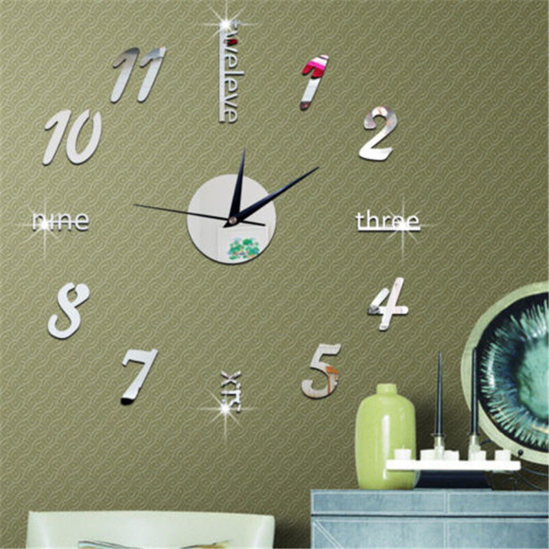 Luxury 3D DIY Wall Clock Roman Numeral Mirror Sticker Home Modern Decor