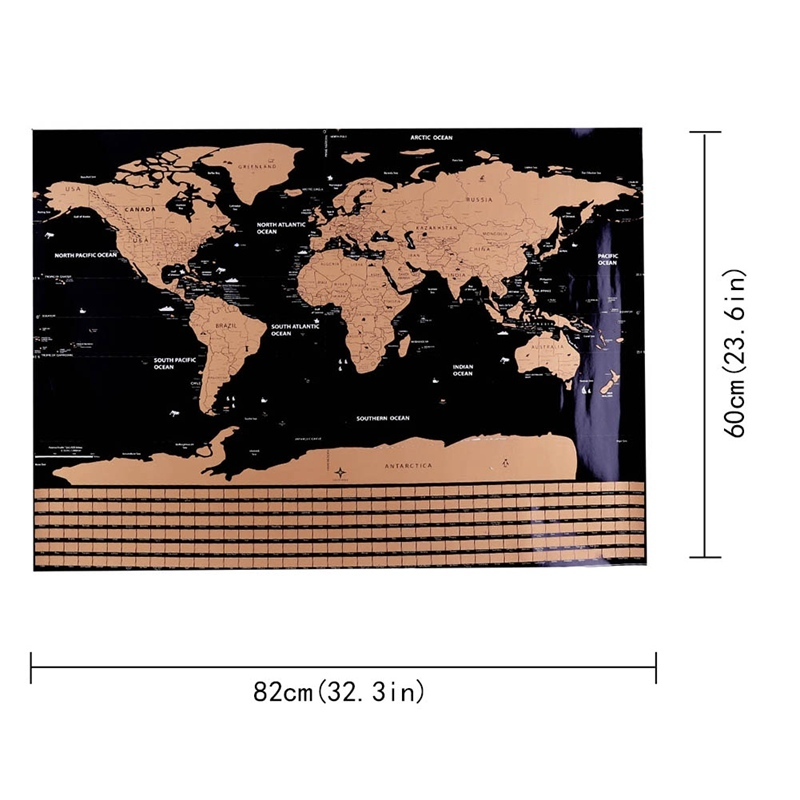 1 Pc 82.5 X 59.4cm Black World Map Scratch Off Personalized World Map Erasable Creative Scratch Off Map Decoration Wall Stickers