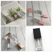 Empty Lipgloss Tube 5ml Gold Cover Lip Gloss Packaging Cosmetic Container Transparent Lip Glaze Tube Empty Lip Gloss Tube 50pcs