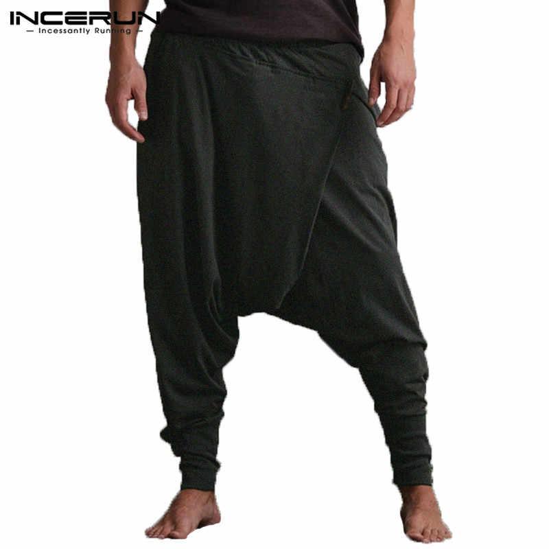 488005e9ab4 INCERUN Men s Harem Pants Joggers Pockets Loose Drop Crotch Trousers Men  Hip-hop Comfy Pants
