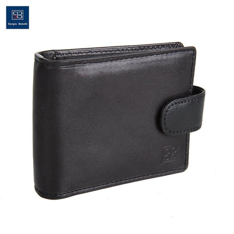 Business Card Holder Sergio Belotti 2392 Milano black short genuine leather cowhide men wallet business card coin money male purse card holder