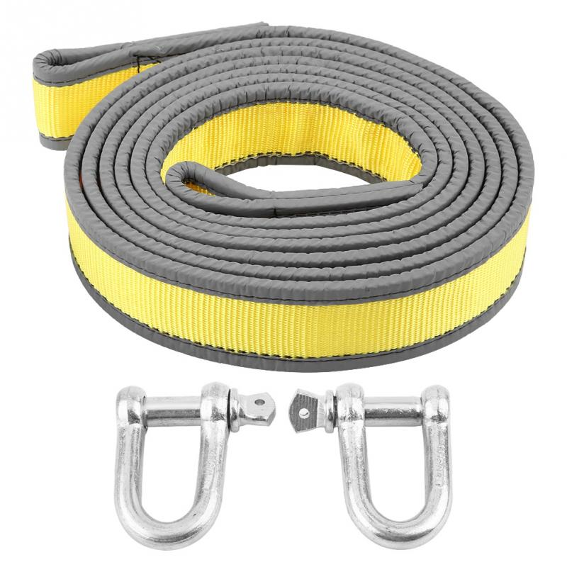 Original 8 Tons 4 Meters Car Trailer Towing Rope Recovery Tow Strap With U-shape Hooks Light Reflection High Strength Pp Material New Famous For Selected Materials, Novel Designs, Delightful Colors And Exquisite Workmanship