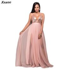 Xnxee Women Party Dresses 2019 New Arrival Spaghetti Strap Sequins Mesh Patchwork Fashion Long Dress Sexy Deep V-Neck