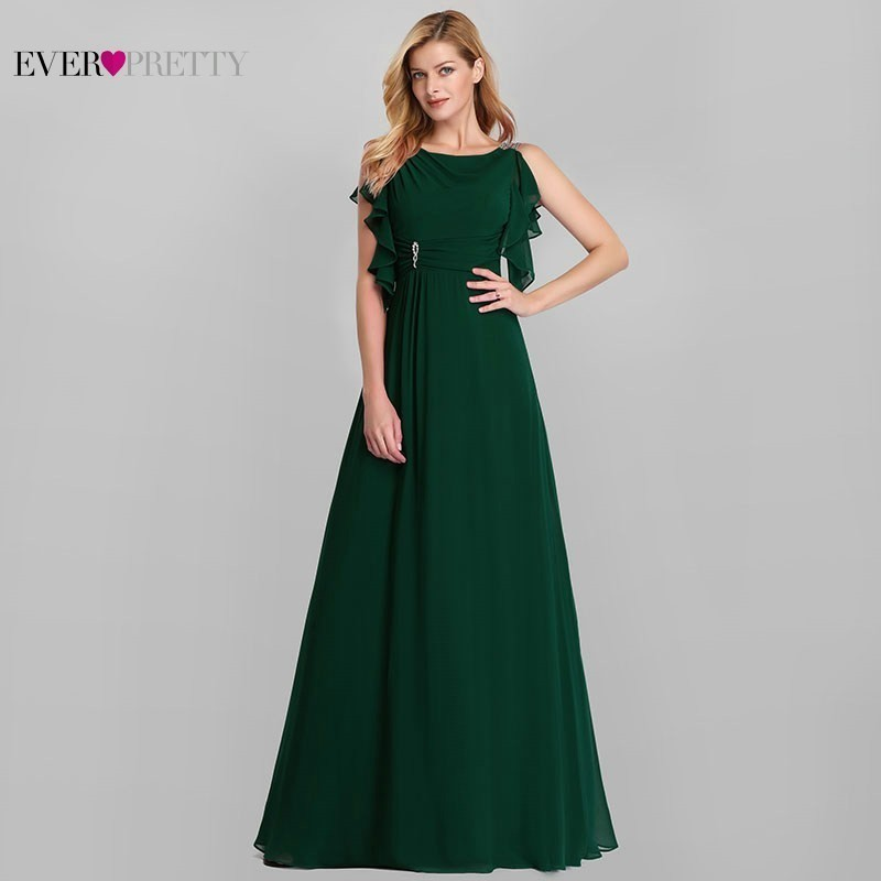 Long Bridesmaid Dresses Ever Pretty A-Line O-Neck Ruffles Sleeveless Chiffon Dresses For Wedding Party Vestido Madrinha 2020
