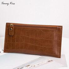 Tonny Kizz vintage long wallet women leather portfel telephone alligator prints female coin purse money clip daily clutch