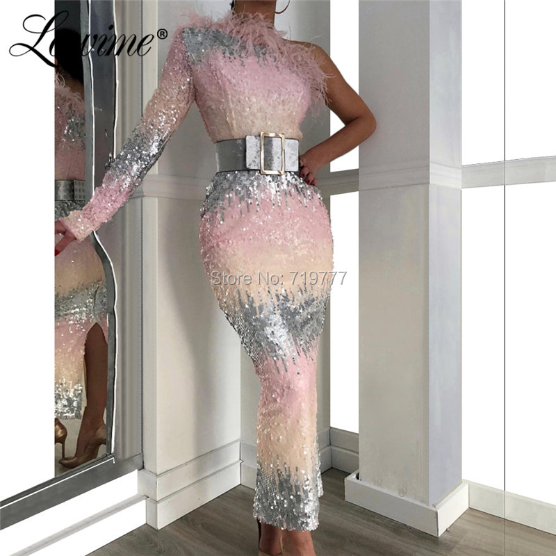 Sequin One Shoulder Evening Dresses Ankle Length Feather Couture Party Dress For Middle East Women 2019 Arabic Dubai Prom Dress