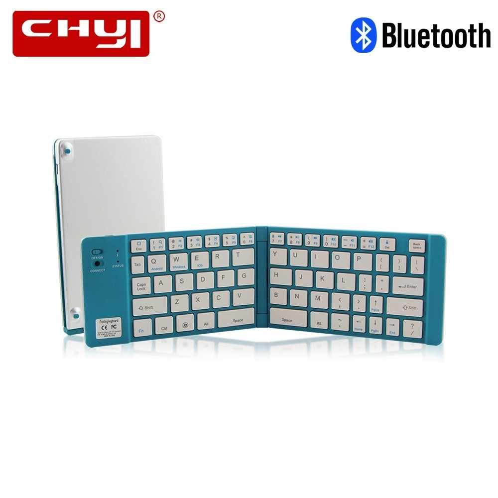 Chyi Portabel Lipat Bluetooth Keyboard Aluminium Nirkabel Dapat Dilipat Perjalanan Mini BT 3.0 Keypad untuk Iphone Ipad PC Tablet Ponsel