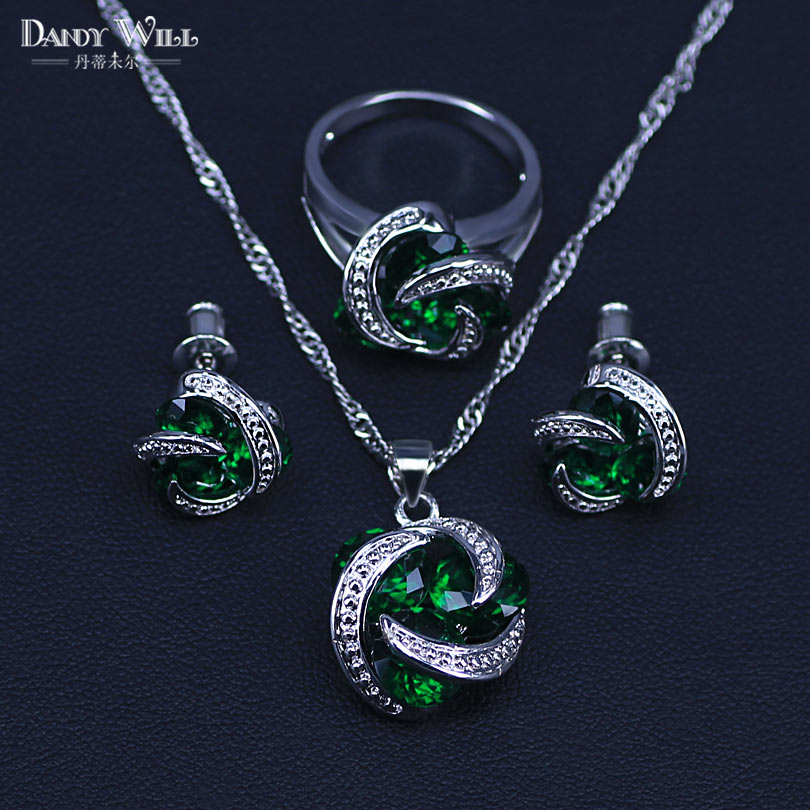 Jewelry-Sets Cubic-Zircon Necklace/rings 925-Sterling-Silver Women's Green Round Classic