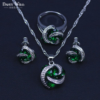 Green Round Cubic Zircon Classic Women's 925 Sterling Silver Jewelry Sets