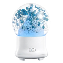 HOME-Us Plug Gift Preserved Fresh Flower Essential Oil Aroma Diffuser Ultrasonic Humidifier With Changing Night Light Beautifu