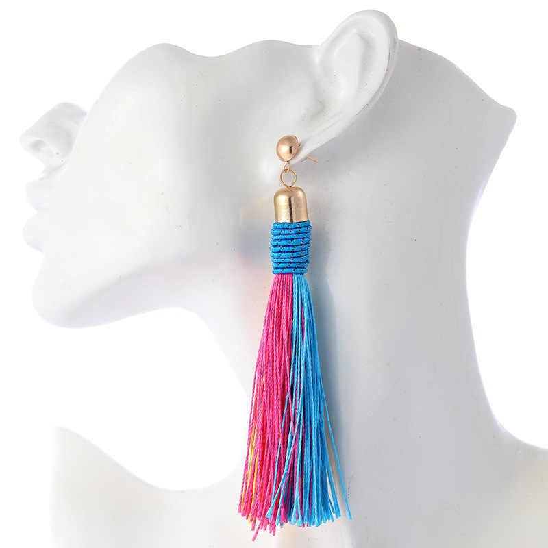Moda boêmio gota borla brincos 2019 para as mulheres amarelo verde longo dangles orelha broncos franjas acessórios de verão jóias