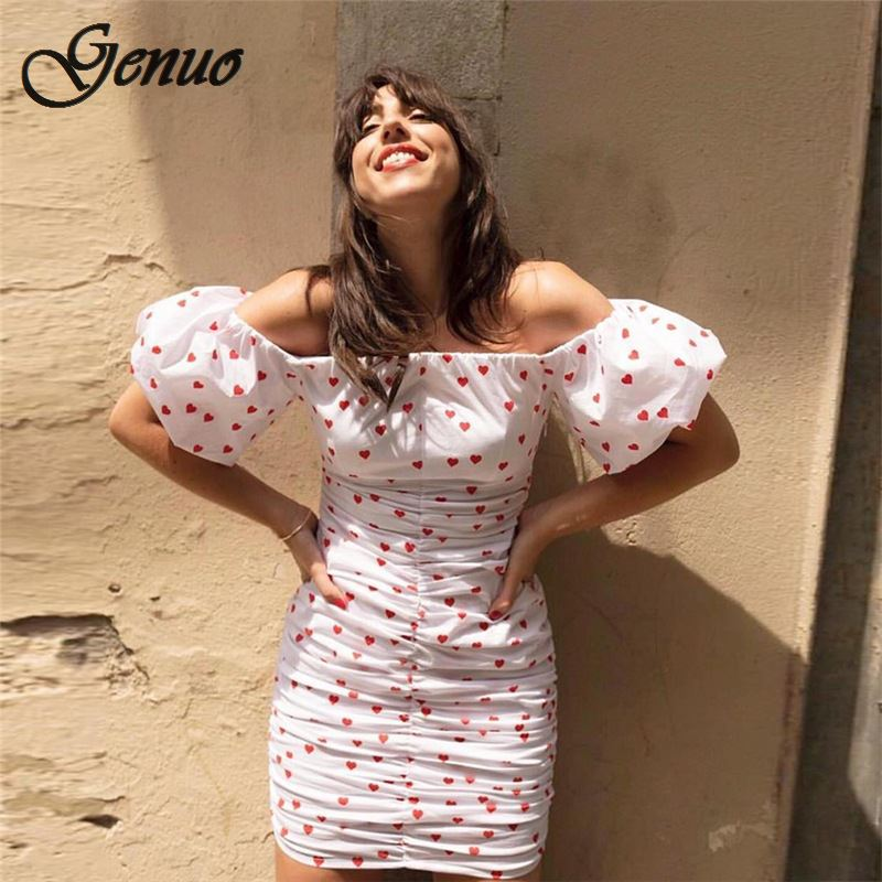 Women Dress 2019 New Summer Sexy Off Shoulder Short Sleeve Heart Print Dress Tight Style Short Party Beach Dresses in Dresses from Women 39 s Clothing