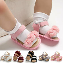 Baby Girl Lovely Sandals Sneakers Toddler Kid Soft Crib First Walker Shoe Anti-slip lace Flower Newborn Prewalker 0-18M(China)