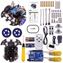 Rowsfire Bat Smart Robot Car Project Complete Starter Tutorial High Tech Programmable Toy For Arduino Test Kit For Kids Adult(China)