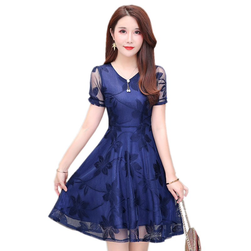 Summer Women Sexy V Neck Lace Hollow Out Midi Dress Lady 2019 Spring Short Sleeve A line Elegant Vestidos Female in Dresses from Women 39 s Clothing