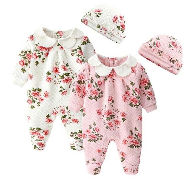 153675005 Spring newborn baby girls floral jumpsuit toddler girls romper long sleeve infant  kids overalls princess costumes