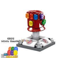 Wholesale 50PCS/LO s Endgame Infinity War Gauntlet With 6Pcs Power Stones Thanos Gloves Building Blocks Toys For Children