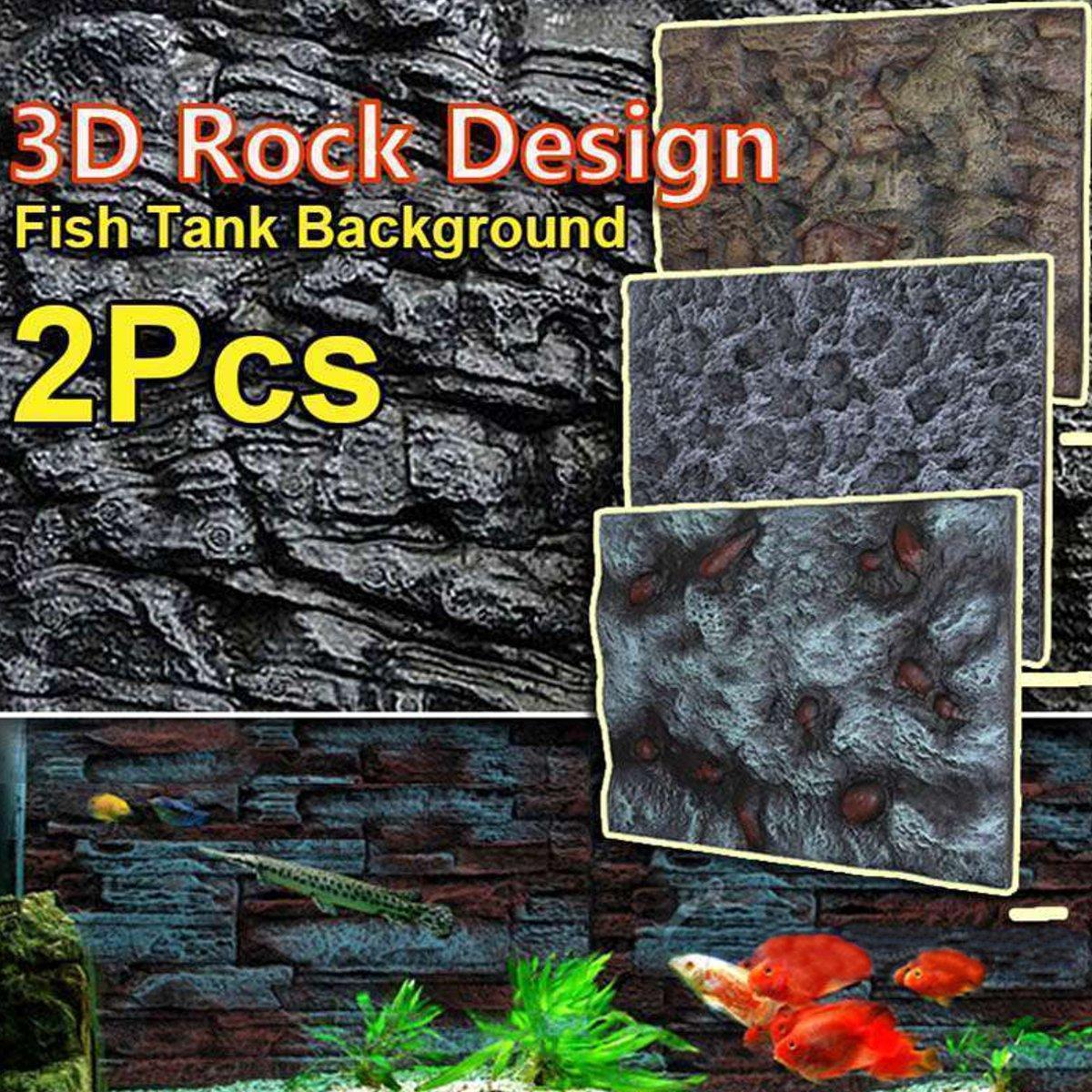 2 pièces 3D PU Aquarium réservoir de poissons fond pierre roche panneau plaque toile de fond décoration murale Reptiles animaux aquatiques fournitures 65X45 cm