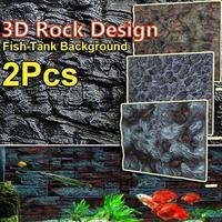 2Pcs 3D PU Aquarium Fish Tank Background Stone Rock Board Plate Backdrop Wall Decoration Reptiles Aquatic Pet Supplies 65X45cm