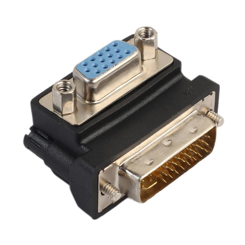 Nickel Plated DVI-I 24+5 Male To VGA 15 Pin Fema 90 Degree Right Angle Convertor Adapter 15 Pin VGA Socket To DVI Male Plug