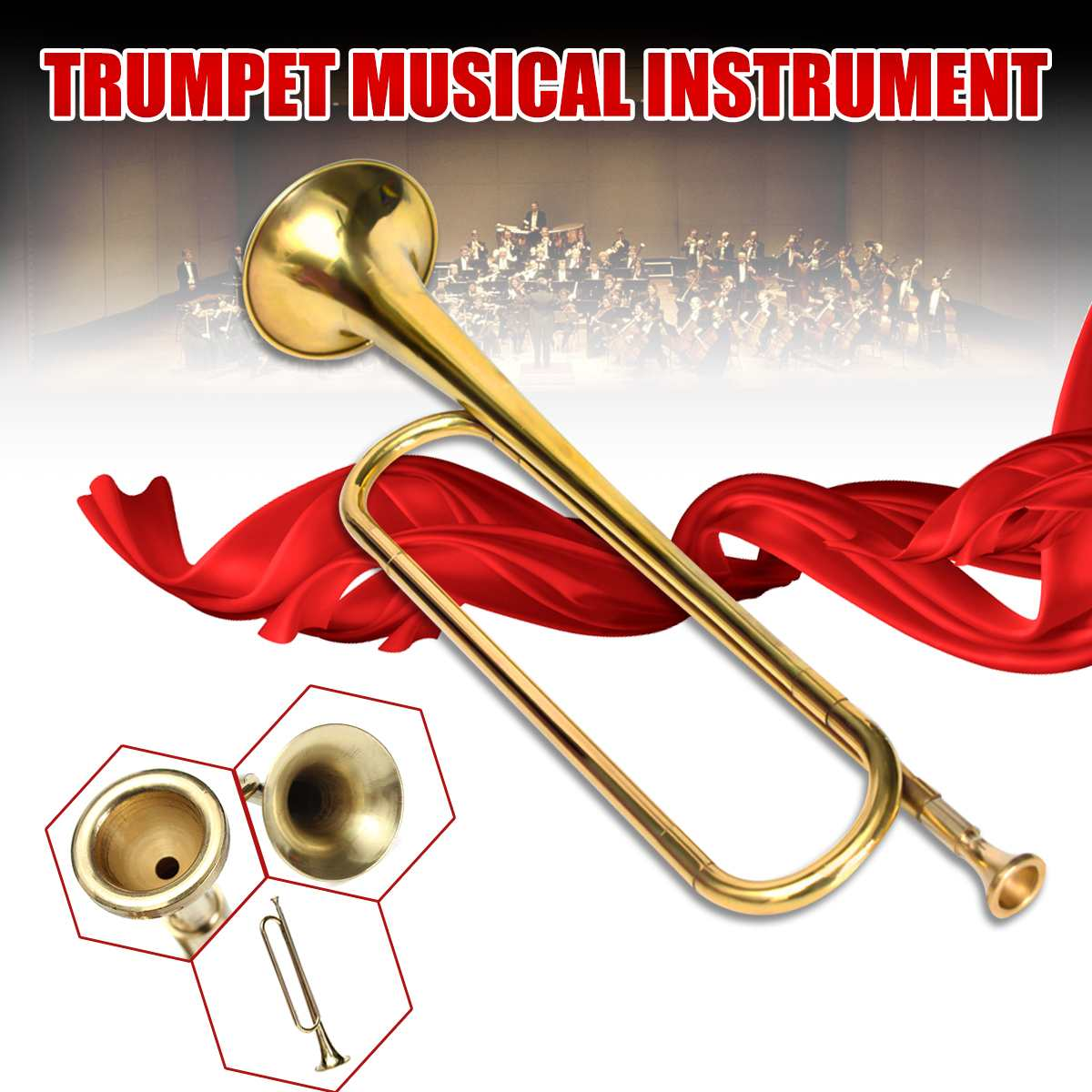1x Retro B Flat Bugle Trumpet Horn Musical Instruments Military School Bands Cavalry Beginner Training Orchestra Gift NEWx