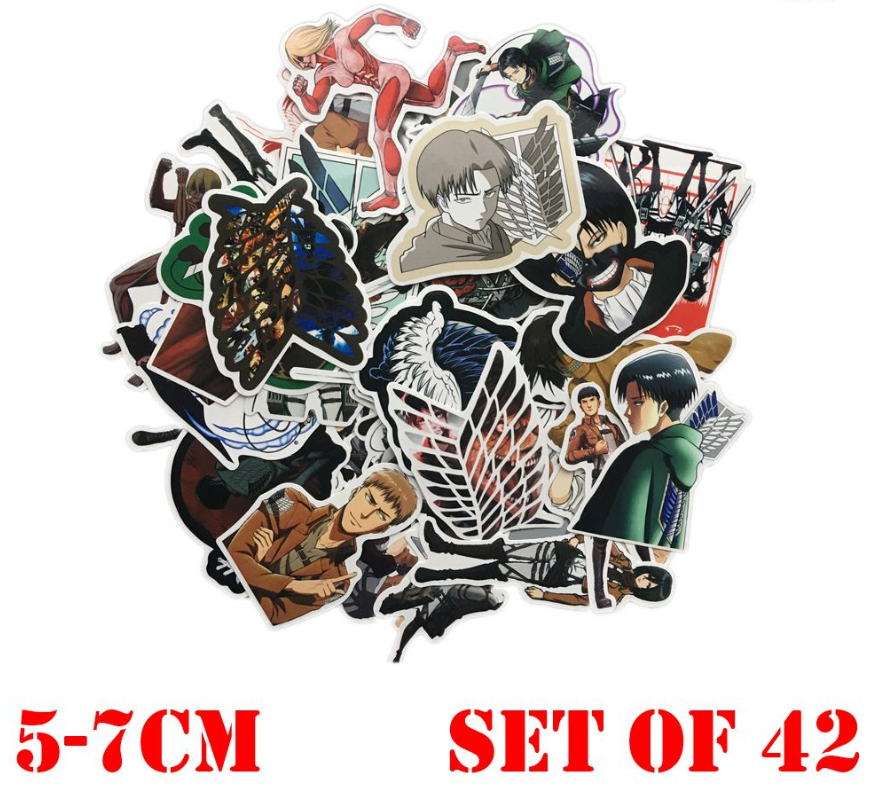 Wellcomice 42pcs/set Attack on Titan Eren Jaeger Yeager Sticker PVC Disposable Tattoo DIY Sticker Phone Tablet Decal Waterproof