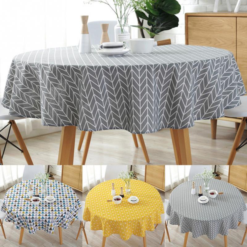 Nórdico algodón poliéster paño Mesa Redonda Color amarillo arroz palabra gris flecha algodón y lino mantel de impresión personalizado