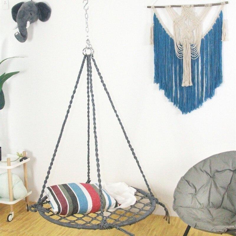 Hand-woven Woven Swing Chair Outdoor Nylon Rope Garden Hammock Furniture Swing Suitable For Indoor And Outdoor Garden