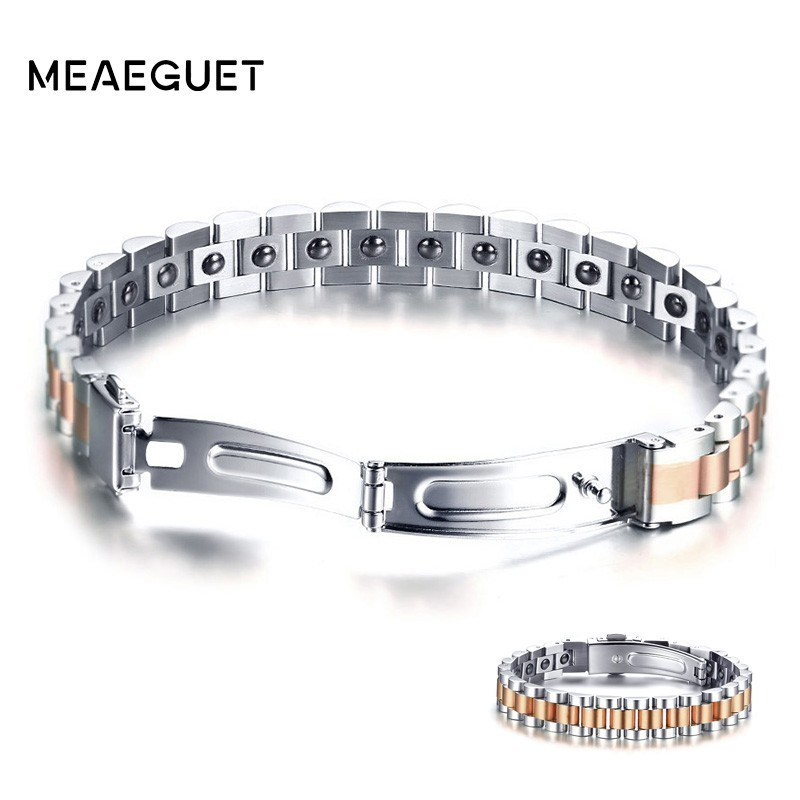 Rose Gold Stainless Steel Bracelet Men Health Care Hematite Energy Power Male Casual Jewelry Hombre