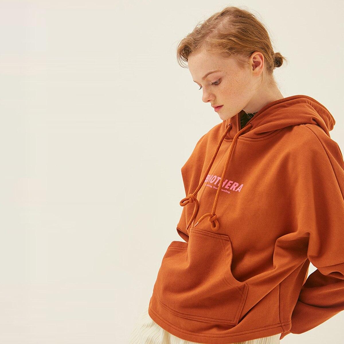 HYH HAOYIHUI Solid Color Sweatshirt Minimalist Solid Drop Shoulder Crop Letter Hoodie Autumn Casual Pullovers in Hoodies amp Sweatshirts from Women 39 s Clothing